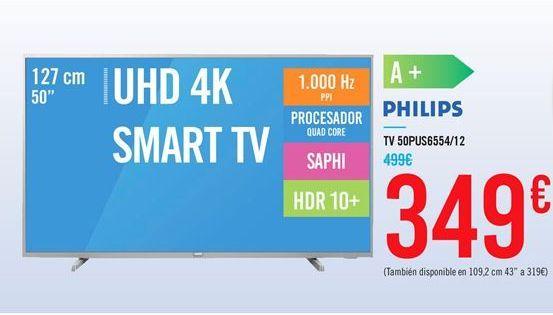 Oferta de TV 50PUS6554/12 por 349€