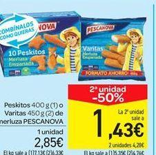 Oferta de Peskitos o Varitas de merluza PESCANOVA por 2.85€