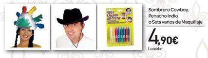 Oferta de Sombrero Cowboy, Penacho Indio o Sets varios de maquillaje por 4.9€