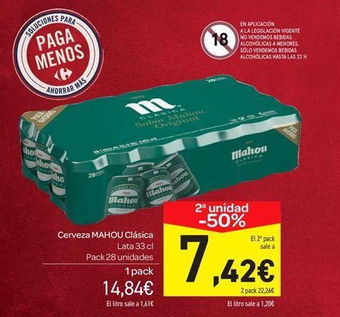 Oferta de Cerveza Mahou clásica pack 28 unidades por 14.84€