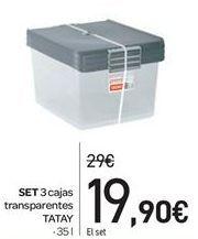Oferta de Set 3 cajas transparentes Tatay por 19.9€