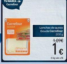 Oferta de Lonchas de queso Gouda Carrefour por 1€