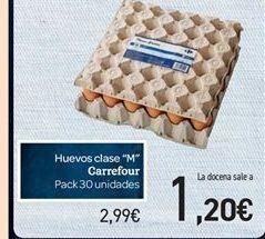 """Oferta de Huevos clase """"M"""" Carrefour por 2.99€"""