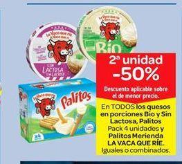 Oferta de En TODOS los quesos en porciones Bio y Sin Lactosa, Palitos Pack 4 unidades y Palitos Merienda LA VACA QUE RÍE por