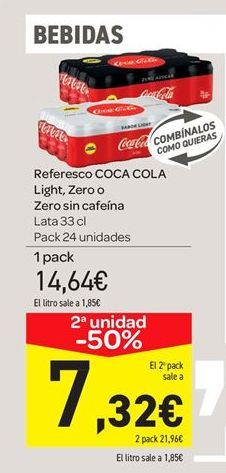 Oferta de Refresco Coca-Cola light, zero o zero sin cafeína por 14.64€
