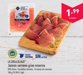Oferta de Jamón serrano aldi por 1.99€