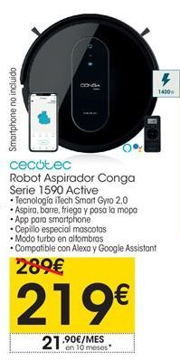 Oferta de Cecotec robot aspirador Conga Serie 1590 Active por 219€