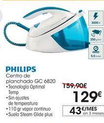 Oferta de Philips centro de planchado GC680 por 129€
