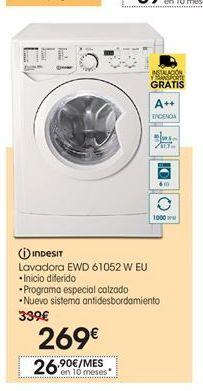 Oferta de Indesit lavadora EWD 61052 W EU por 269€