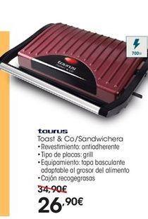 Oferta de Taurus Toast &Co/Sandwichera por 26.9€