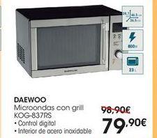 Oferta de  Daewoo microondas con grill KOG-837RS por 79.9€