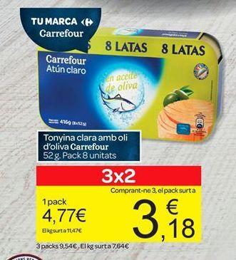 Oferta de Tonyina clara amb oli d'oliva Carrefour por 4.77€