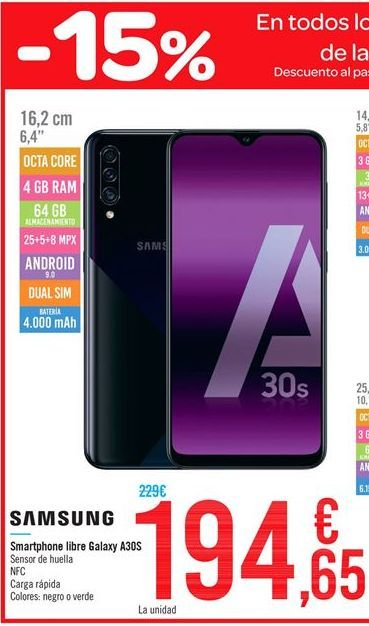 Oferta de Smartphone libre Galaxy A30S Samsung por 194.65€
