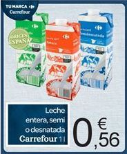 Oferta de Leche entera, semi o desnatada Carrefour por 0.56€