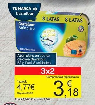 Oferta de Atún en aceite de oliva carrefour por 4.77€