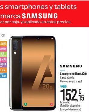 Oferta de Smartphone libre A20e Samsung por 152.15€