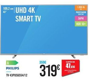 Oferta de Smart tv Philips por 319€
