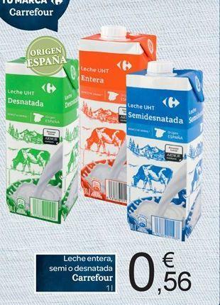 Oferta de Leche entera, semidesnatada o desnatada Carrefour por 0.56€