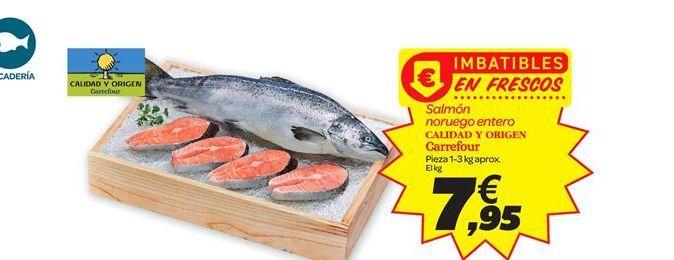 Oferta de Salmón noruego entero Calidad y origen carrefour por 7.95€