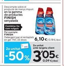 Oferta de Detergente lavavajillas Finish por 6.1€