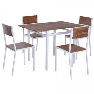 Oferta de Conjunto mesa de cocina + 4 sillas madera HomCom por 118.73€