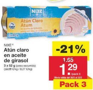 Oferta de Atún en aceite de girasol nixe por 1.3€