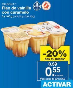 Oferta de Flan de vainilla Milbona por 0.55€