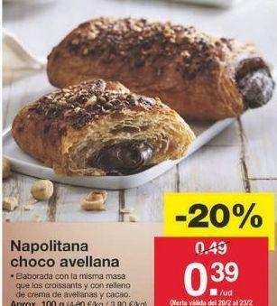Oferta de Napolitana de chocolate por 0.39€