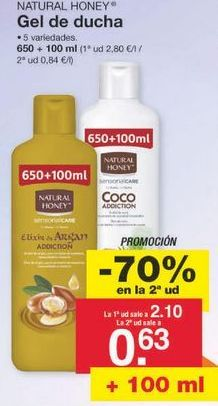 Oferta de Gel Natural Honey por 1.36€