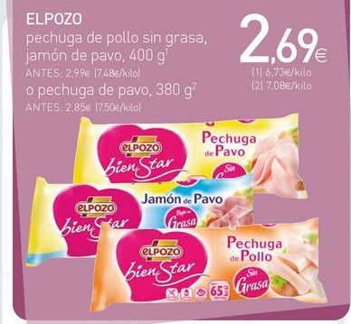 Oferta de Pechuga de pollo elpozo por 2.69€