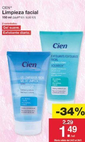 Oferta de Cuidado facial Cien por 1.51€