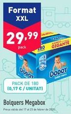 Oferta de Pañales Megabox por 29.99€