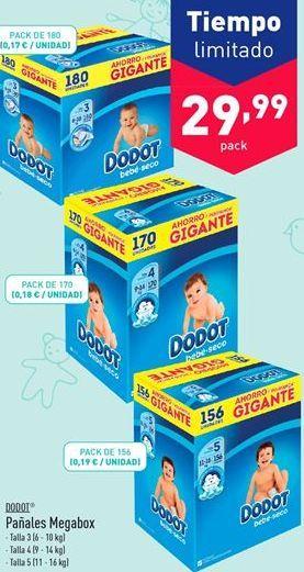Oferta de Pañales Megabox Dodot por 29.99€