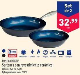 Oferta de Sartenes con revestimiento cerámico Home Creation  por 32.99€
