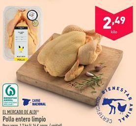 Oferta de Pollo entero limpio por 2.49€