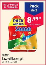 Oferta de Lavavajillas en gel Somat  por 8.99€