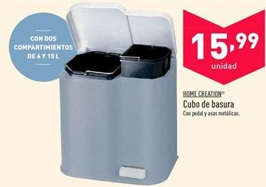 Oferta de Cubo de basura Home Creation  por 15.99€