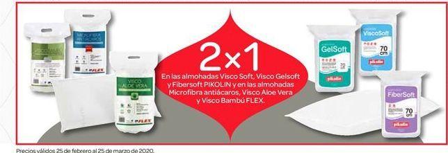 Oferta de Almohadas visco soft, visco gelsoft y fibersoft Pikolin y microfibra antiácaros, visco aloe vera y visco bambú Flex por
