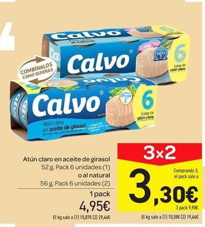 Oferta de Atún en aceite de girasol o al natural Calvo por 4.95€