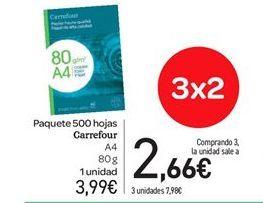 Oferta de Paquete 500 hojas Carrefour A4 por 3.99€