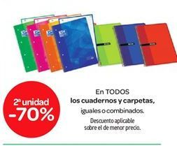 Oferta de En TODOS los cuadernos y carpetas por