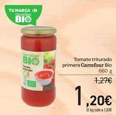 Oferta de Tomate triturado primera carrefour Bio  por 1.2€