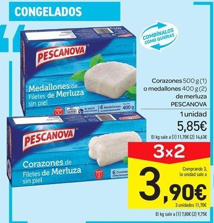 Oferta de Corazones o medallones  de merluza Pescanova por 5.85€