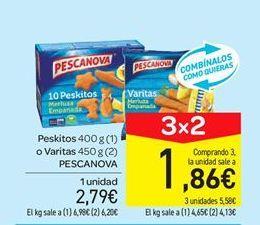 Oferta de Peskitos o varitas de merluza empanada Pescanova por 2.79€