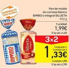 Oferta de Pan de molde sin corteza blanco Bimbo o integral silueta por 1.99€