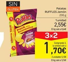 Oferta de Patatas Ruffles jamón por 2.55€