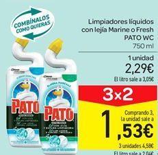 Oferta de Limpiadores líquidos con lejía Marine o Fresh PATO WC por 2.29€