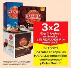 Oferta de Cápsulas de café Marcilla compatibles con Nespresso y Dolce gusto por