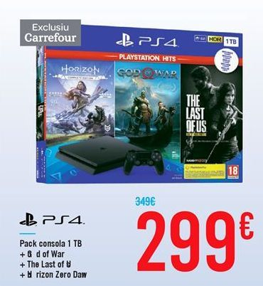 Oferta de Pack consola 1TB + G od of War + Th e Last of U s + H oriz on Z ero Daw n por 299€