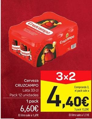 Oferta de Cerveza Cruzcampo por 6.6€